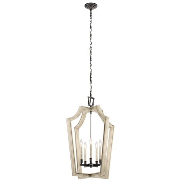 Naglee 5 - Light Lantern Geometric Chandelier with Wood Accents by Ophelia & Co. Ophelia & Co.
