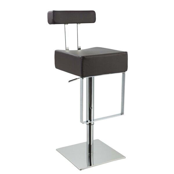 Clower Modern Adjustable Height Upholstered Swivel Bar Stool by Orren Ellis