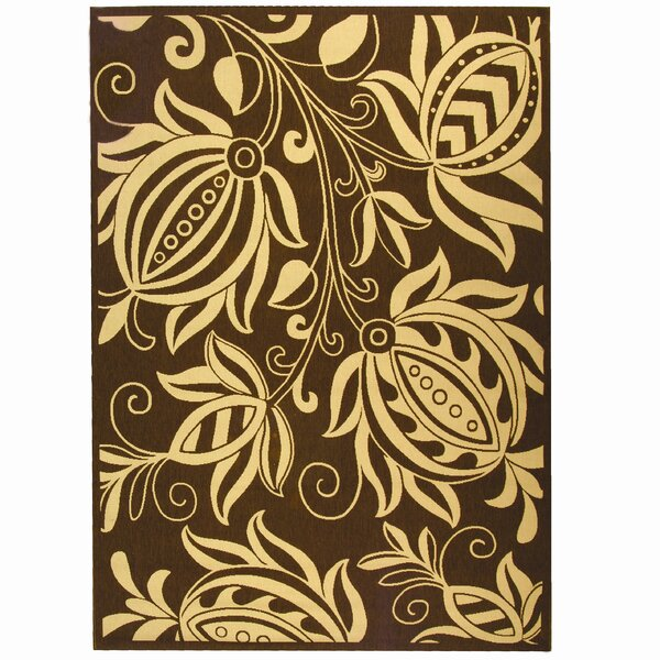 Laurel Chocolate/Natural Outdoor Area Rug by August Grove