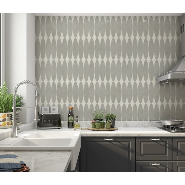 Olivia 2.81 x 11.25 Porcelain and Metal Mosaic Tile