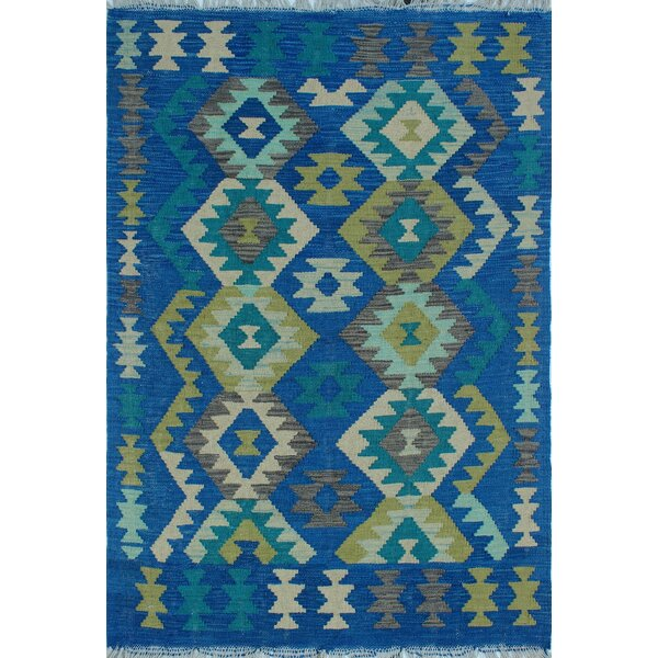 Rucker Traditional Kilim Hand Woven Wool Rectangle Blue Area Rug by Bungalow Rose
