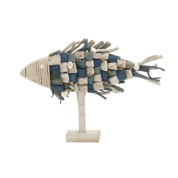 Kellum Driftwood Rope Fish Figurine by Beachcrest Home