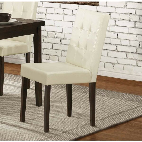Gusman Wooden Genuine Leather Upholstered Dining Chair (Set of 2) by Ebern Designs