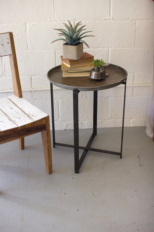 Awesome Ciara Recycled Round Metal Tray Table