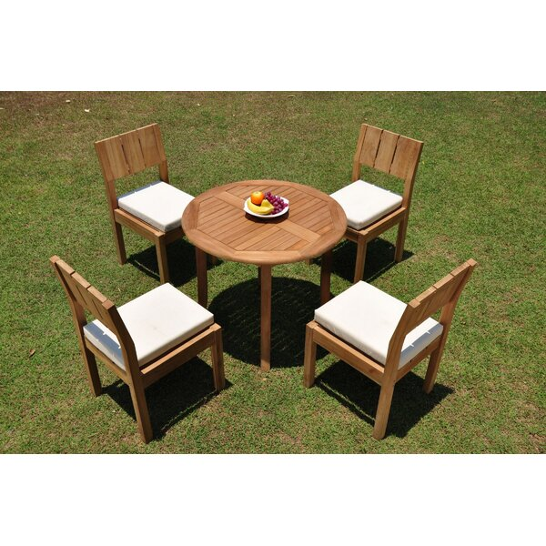 Islais 5 Piece Teak Dining Set by Rosecliff Heights