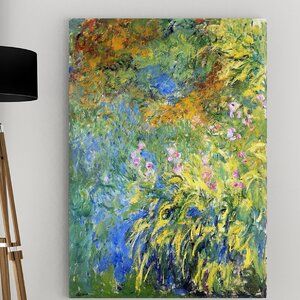 'Irises by the Pond' by Claude Monet Painting Print on Wrapped Canvas by Wexford Home