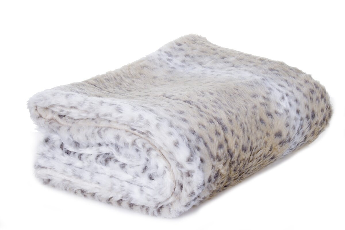 Aaryahi Leopard Faux Fur Throw Blanket