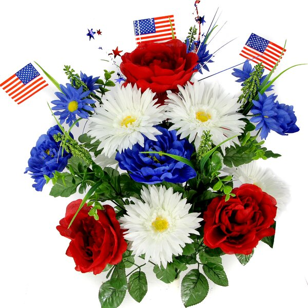 Artificial Blooming Peonies, Gerbera Daisies with Small American Flags and Fillers Mixed Bush by Admired by Nature
