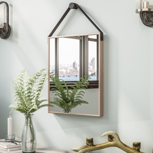 Waynoka Rectangle Champagne and Black Iron Decorative Wall Mirror by Trent Austin Design