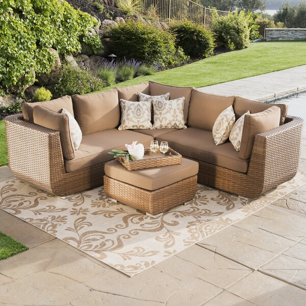 Overby 4 Piece Rattan Sunbrella Sofa Seating Group with Cushions by Latitude Run