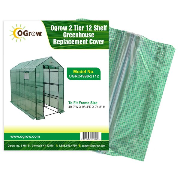 2 Tier 12 Shelf Greenhouse PE Replacement Cover by OGrow