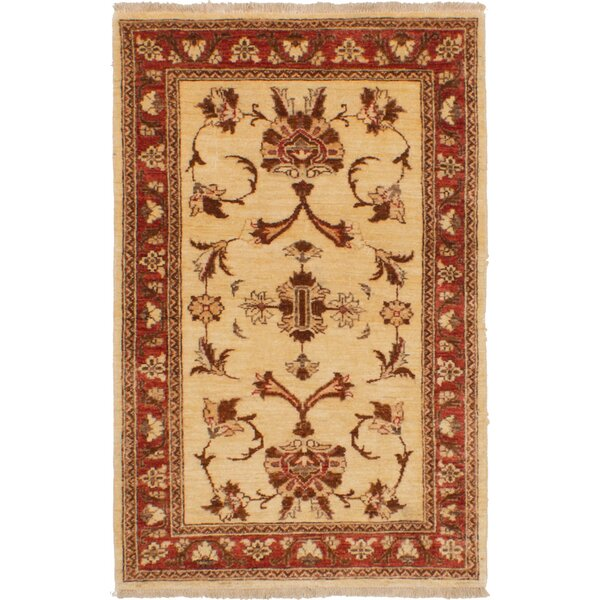 One-of-a-Kind Adelaide Hand-Knotted Wool Cream/Red Area Rug by Isabelline