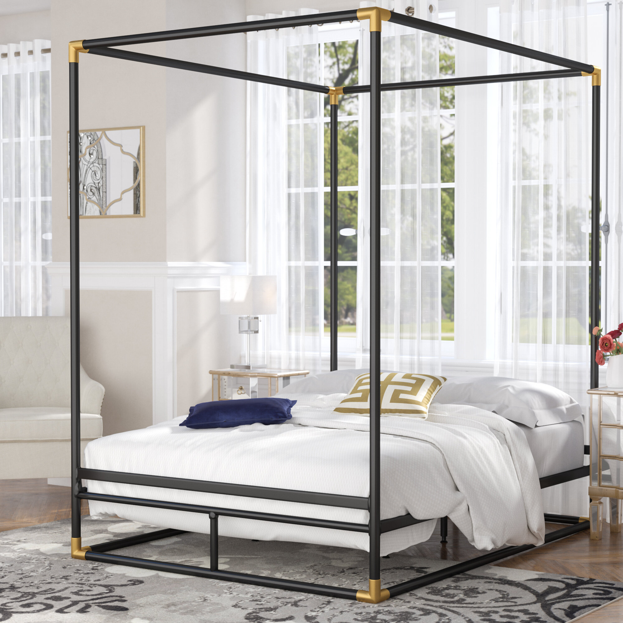 Image of: Mercer41 Ozzie Queen Canopy Bed Reviews Wayfair