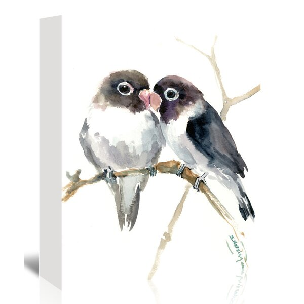 Gray Masked Lovebirds Painting Print on Wrapped Canvas by Bay Isle Home