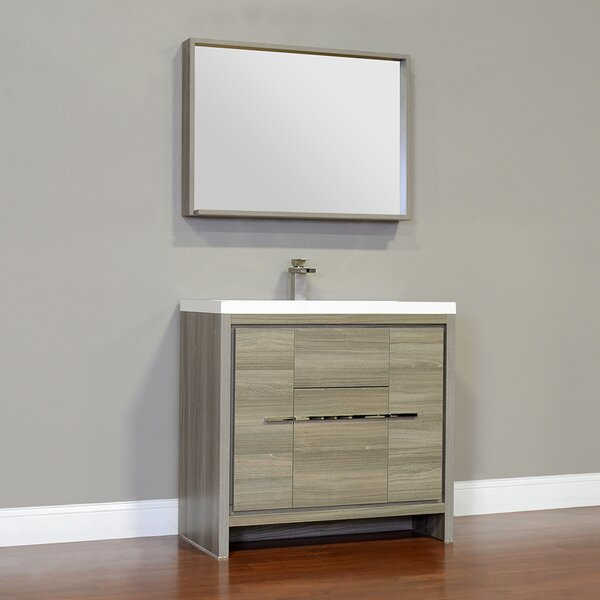 Waldwick 36 Single Modern Bathroom Vanity Set with Mirror by Wade Logan