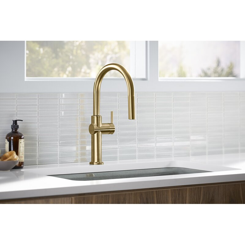 crue pull down single handle kitchen faucet
