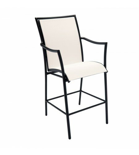 Dominica Sling Stationary 28.5 Patio Bar Stool by Woodard