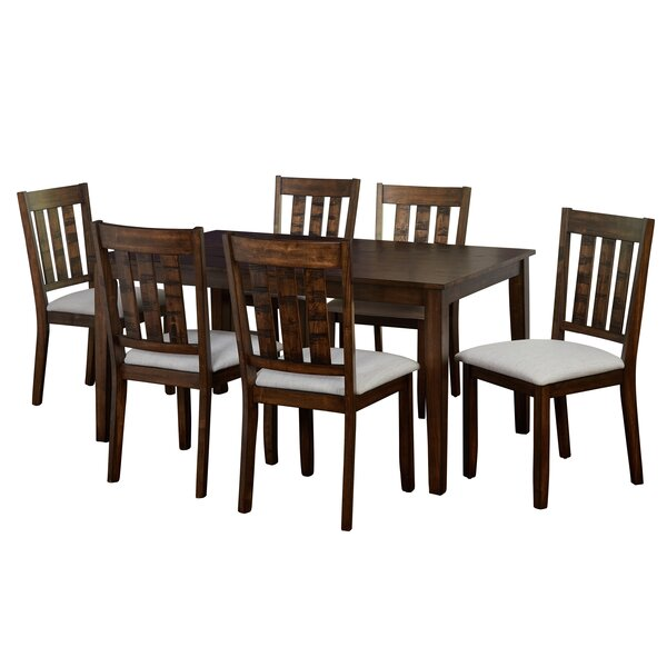 Rhem 7 Piece Solid Wood Dining Set by Charlton Home