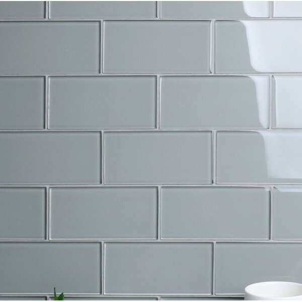 Premium Series 3 x 6 Glass Subway Tile in Glossy Soft Gray by WS Tiles