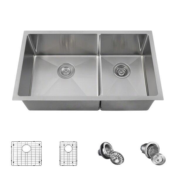 31 L x 18 W Double Basin Undermount Kitchen Sink with Basket strainer