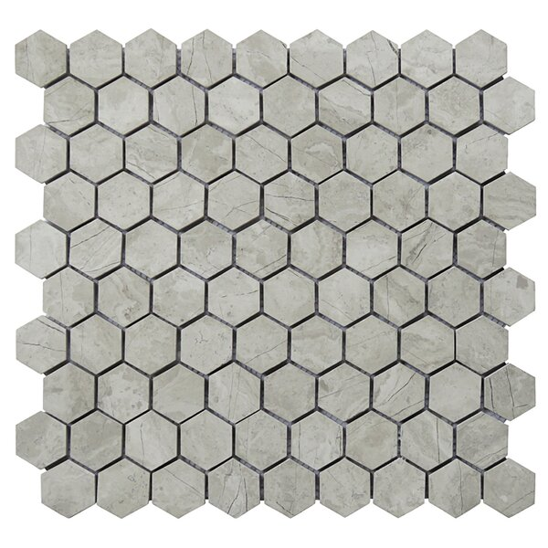 Hexagon 12 x 12.5 Limestone Natural Stone Blend Mosaic Tile in Gray by Intrend Tile
