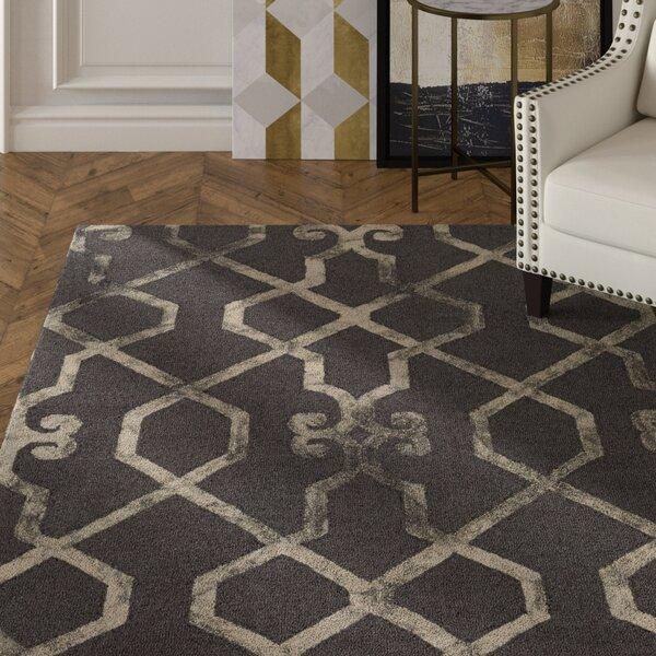 Sandhill Hand-Tufted Charcoal/Beige Area Rug by Mercer41