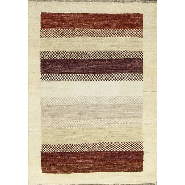 One-of-a-Kind Gabbeh Polka Dot Stripe Hand-Knotted Wool Cream/Brown/Red Area Rug by Bokara Rug Co., Inc.
