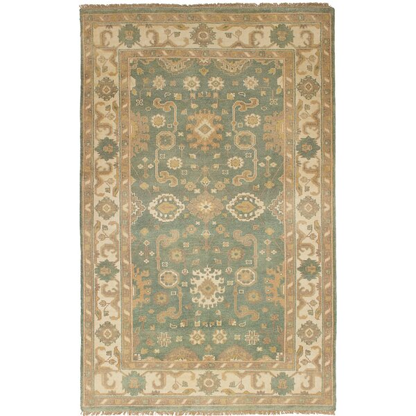 One-of-a-Kind Doggett Hand Knotted Wool Light Teal Area Rug by Isabelline
