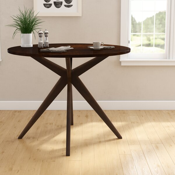 Goza Mid-Century Modern Round Counter Height Solid Wood Pub Table by Wrought Studio