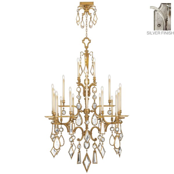 Encased Gems 24 - Light Candle Style Tiered Chandelier By Fine Art Lamps