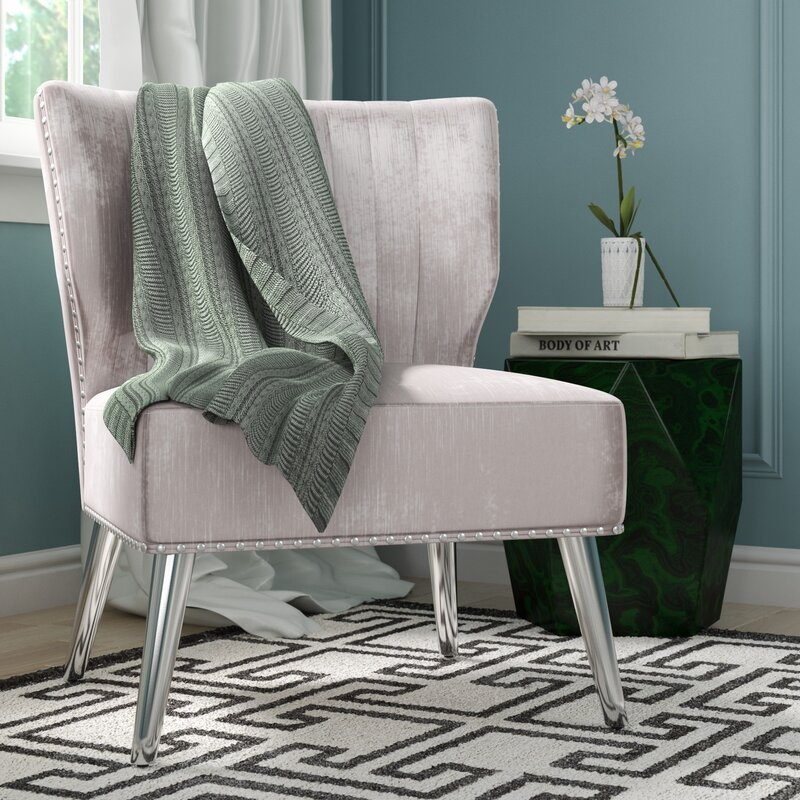 Superieur Hale Nail Headed Upholstered Wingback Chair