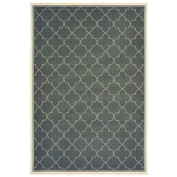 Salerno Simple Lattice Gray Indoor/Outdoor Area Rug by Charlton Home