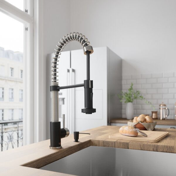 Edison Pull-Down Single Handle Kitchen Faucet With Soap Dispenser In Stainless by VIGO