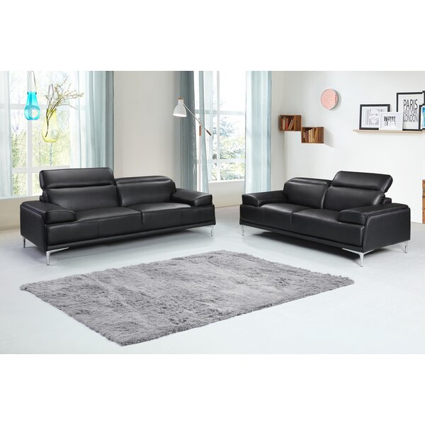 Karlin Leather Configurable Living Room Set by Orren Ellis