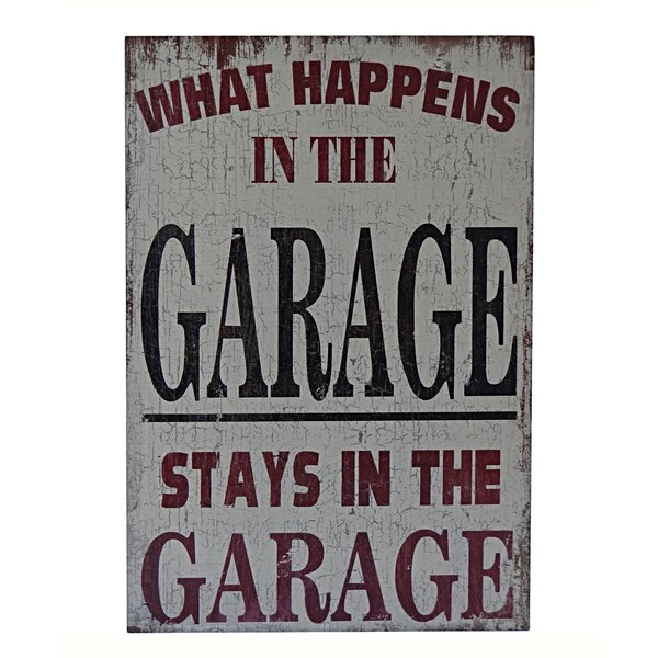 Wooden What Happens in The Garage Stays Textual Art by Cheungs