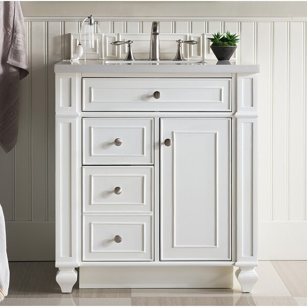 Lambrecht 30 Single Cottage White Quartz Bathroom Vanity Set by Alcott Hill