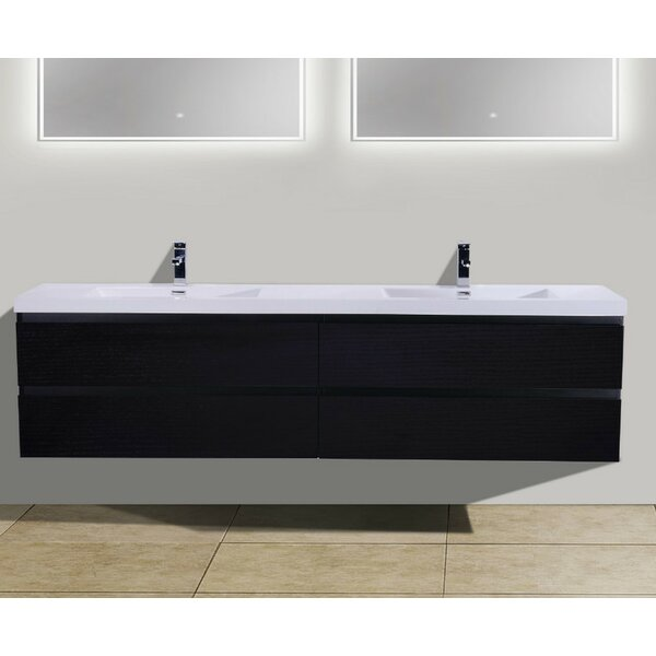 Lina 84 Wall Mounted Double Bathroom Vanity Set by Orren Ellis