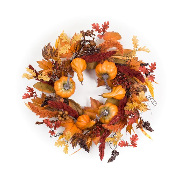 Pumpkin/Gourd and Foxtail 27 Polyester Wreath by August Grove