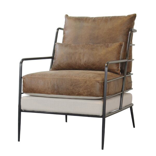 Sheehan Leather And Fabric Metal Framed Armchair By 17 Stories