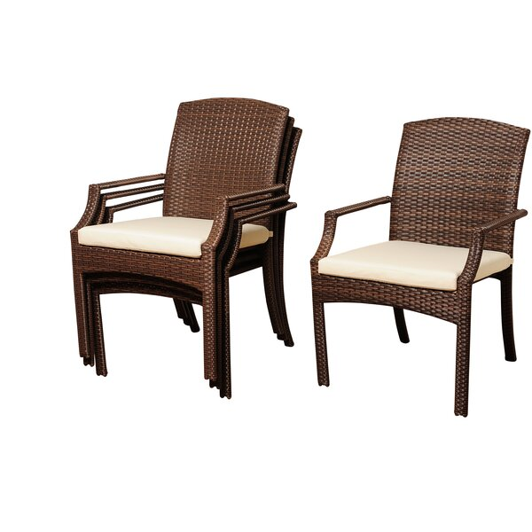 Niangua Stacking Patio Dining Chair with Cushion (Set of 4) by Beachcrest Home
