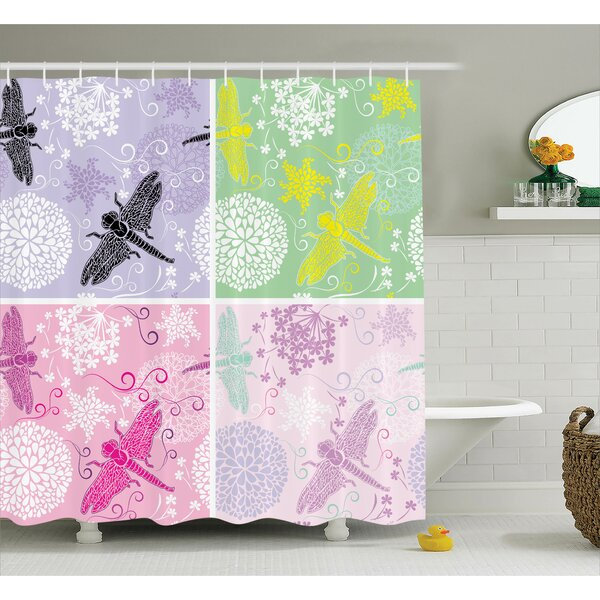Lottie Dragonflies Dandelion Shower Curtain by Zoomie Kids