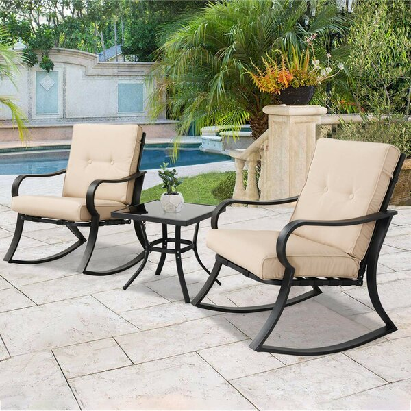Outdoor 3 Piece Bistro Set with Cushions