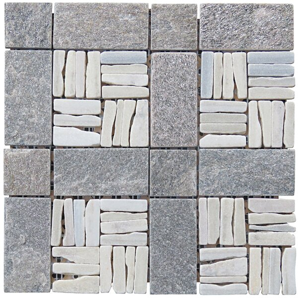 Landscape Wonder 12 x 12 Quartzite Alternate Natural Stone Blend Mosaic Tile in White and Gray by Intrend Tile