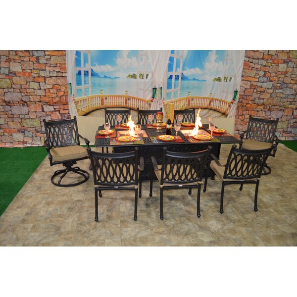 Baragrey 9 Piece Sunbrella Dining Set with Cushions by Fleur De Lis Living