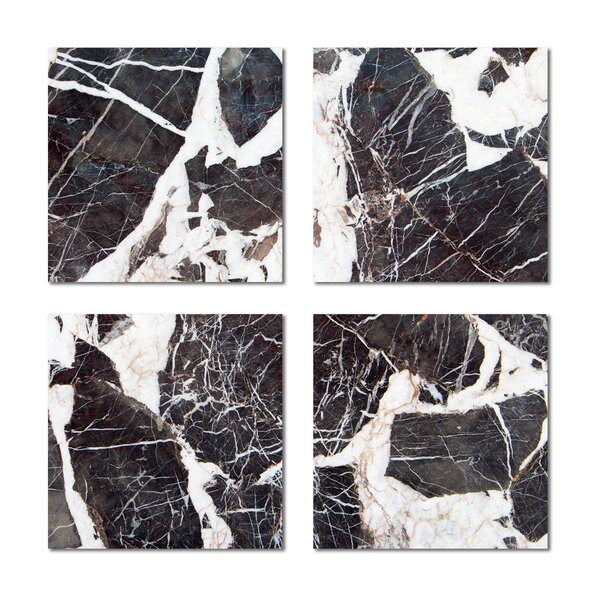 6 x 6 Beveled Glass Field Tile in Dark Gray/White by Upscale Designs by EMA