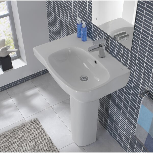 Moda Ceramic 26 Pedestal Bathroom Sink with Overflow by Bissonnet