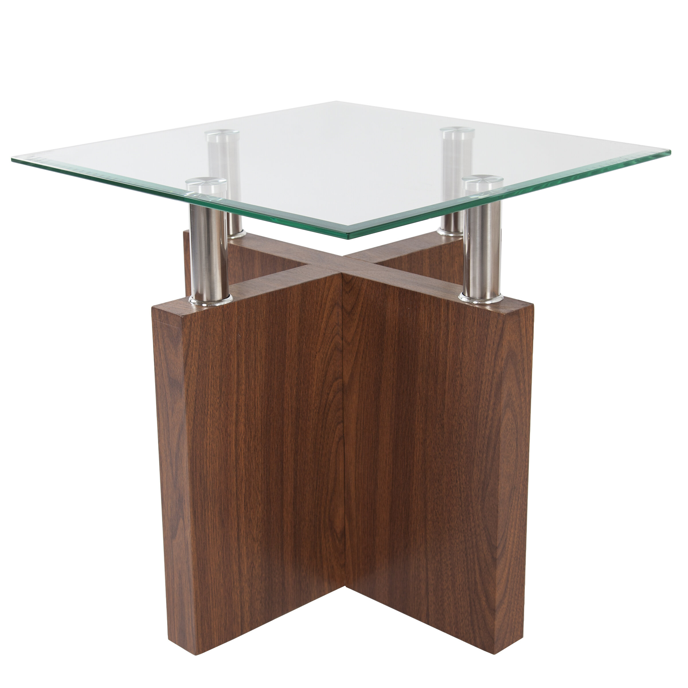 Picture of: Orren Ellis Turnbow Glass Top End Table Wayfair Ca