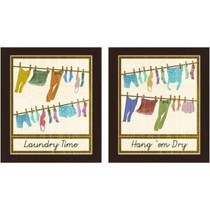 'Laundry Time' 2 Piece Framed Graphic Art Set by Red Barrel Studio