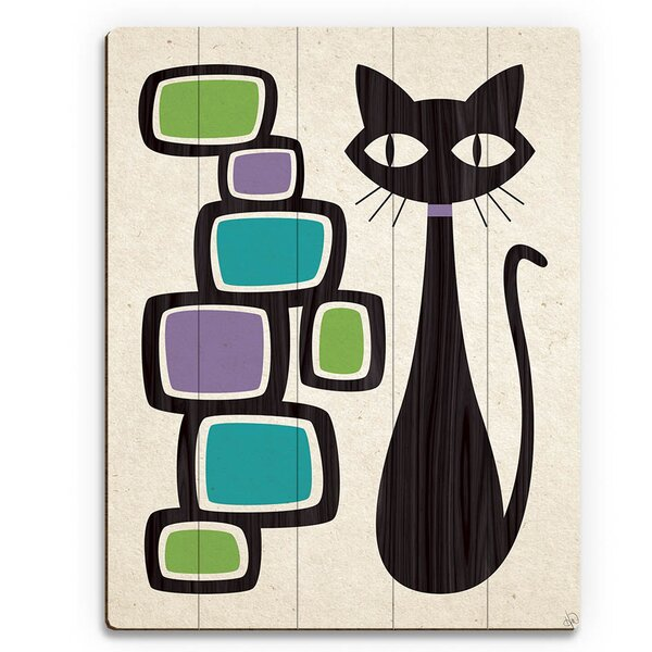 Retro Cat with Bubbles Graphic Art on Plaque by Click Wall Art
