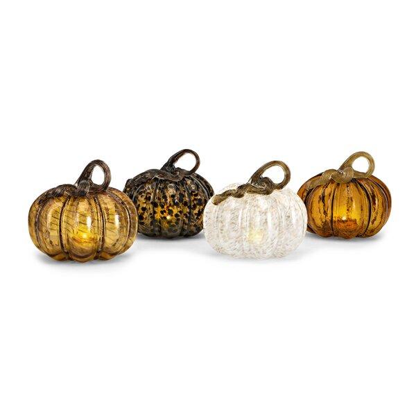 Patchell Glass LED Pumpkin 4 Piece Sculpture Set by August Grove